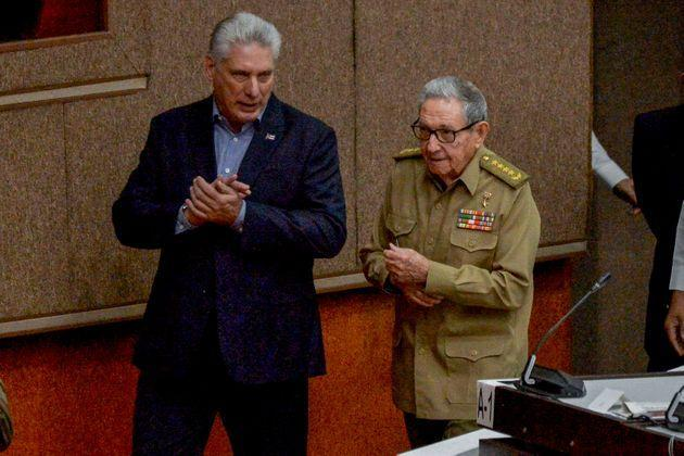 Cuban President Miguel Diaz Canel (L) and First Secretary of the Cuban Communist Party, Cuban former president Raul Castro (Photo: YAMIL LAGE via Getty Images)