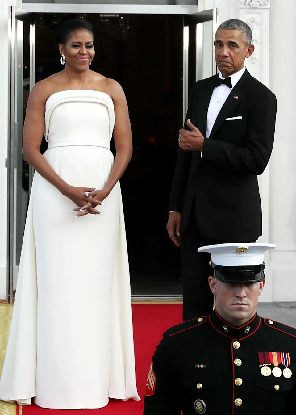 <p>And when he gave her a thumbs up later that evening. [Photo: Getty/Chip Somodevilla]</p>