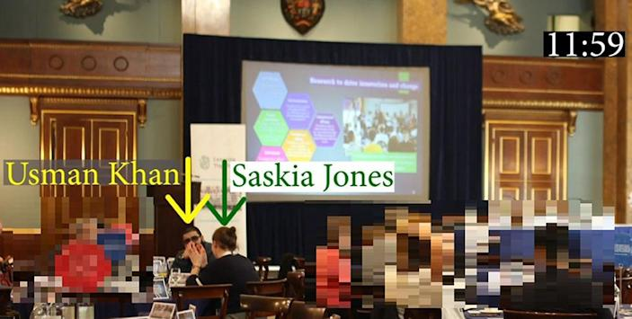 An image shown at the inquest, showing Usman Khan and Saskia Jones sat at a table together at the Learning Together event where Khan later killed herMetropolitan Police