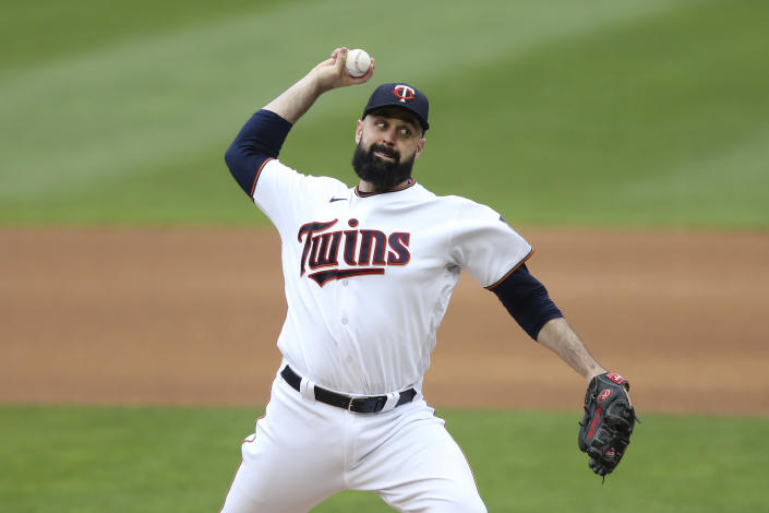 Minnesota Twins' pitcher Matt Shoemaker throws against the Kansas City Royals during the first inning of a baseball game, Sunday, May 30, 2021, in Minneapolis. (AP Photo/Stacy Bengs)