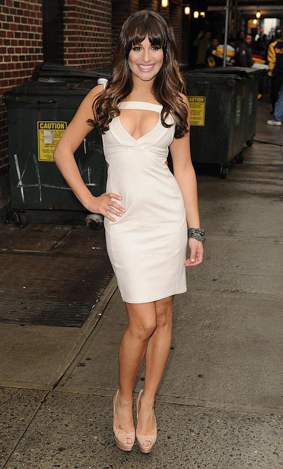 "On Monday, Lea Michele flaunted her fab physique upon exiting the Ed Sullivan Theater following an appearance on the ""Late Show with David Letterman."" The ""Glee"" star <span style=""font-size:11.0pt; "">–</span><span style=""font-size:12.0pt; ""></span> who plays prim and proper Rachel Berry on the hit series <span style=""font-size:11.0pt; "">–</span> left little to the imagination in an Amen dress that highlighted her decolletage. And, on her feet ... none other than her trusty pair of nude Christian Louboutin platform peep-toes. (5/21/2012)"