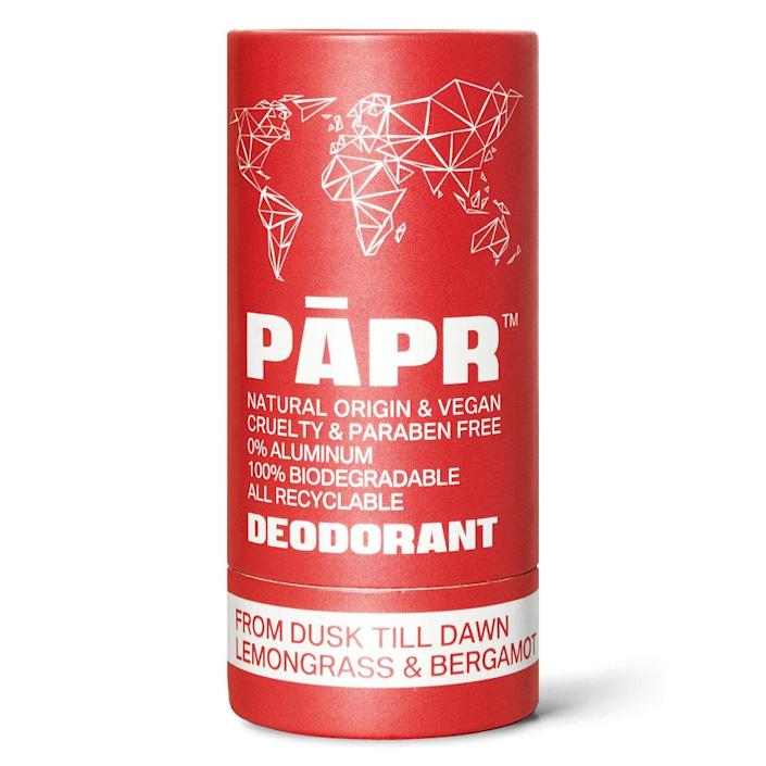 """Founded in Los Angeles, Papr has formulated a line of deodorants that are all made from natural, vegan ingredients (like baking soda, coconut oil, essential oils, and shea butter) wrapped in packaging that is both biodegradable and sourced from sustainable resources including Forest Stewardship Council–certified paper and a super thin layer of PLA membrane (cornstarch). Pick from five scents ranging from crisp and clean to rich and musky for whatever vibe you're feeling at the moment. $14, Paper Cosmetics. <a href=""""https://papercosmetics.com/products/from-dusk-till-dawn"""" rel=""""nofollow noopener"""" target=""""_blank"""" data-ylk=""""slk:Get it now!"""" class=""""link rapid-noclick-resp"""">Get it now!</a>"""