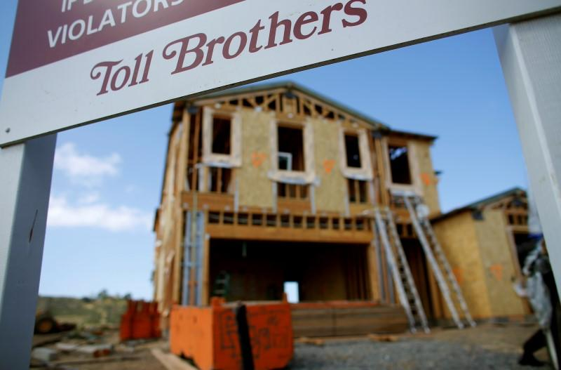 A single family home is shown under construction by Toll Brothers Inc, the largest U.S. luxury homebuilder, in Carlsbad, California