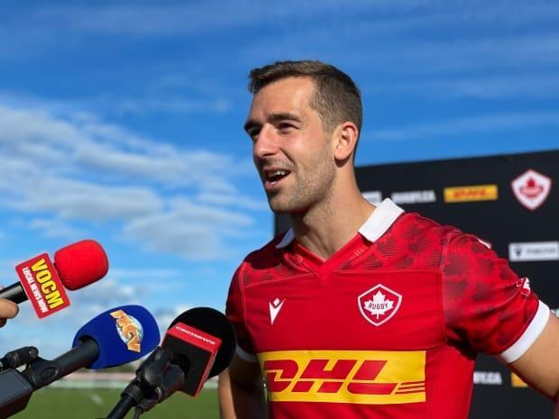 Pat Parfrey answers questions from the media following Rugby Canada's win over the United States Saturday afternoon in St. John's. (Meg Roberts/CBC - image credit)