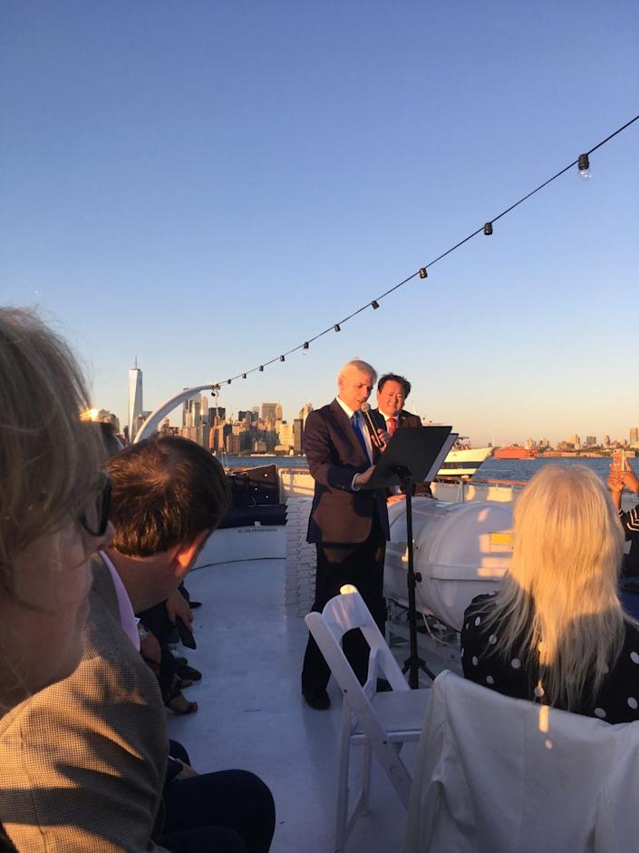 Steve Rogers speaks on the deck of the antique yacht Mariner III, which played host to a fundraiser for President Donald J. Trump in New York harbor in August.