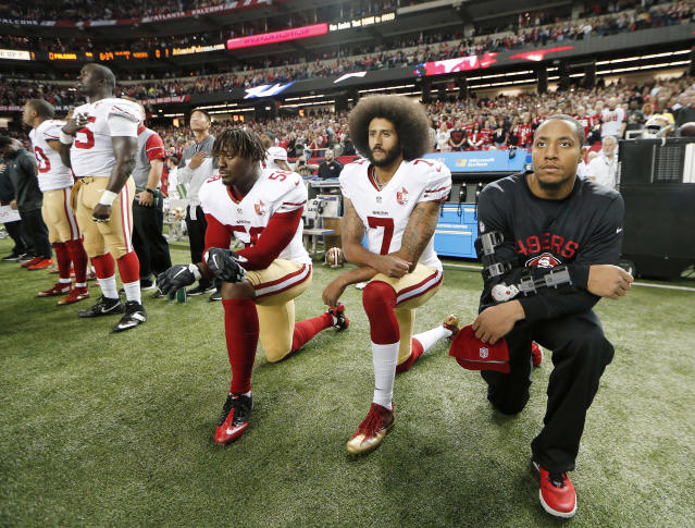 Colin Kaepernick started protesting racial injustice in 2016. (AP Photo/John Bazemore)