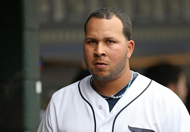 DETROIT, MI - JULY 31: Jhonny Peralta #27 of the Detroit Tigers watches the action from the dugout during the game aginst the Washington Nationals at Comerica Park on July 31, 2013 in Detroit, Michigan. The Tigers defeated the Nationals 11-1. (Photo by Leon Halip/Getty Images)