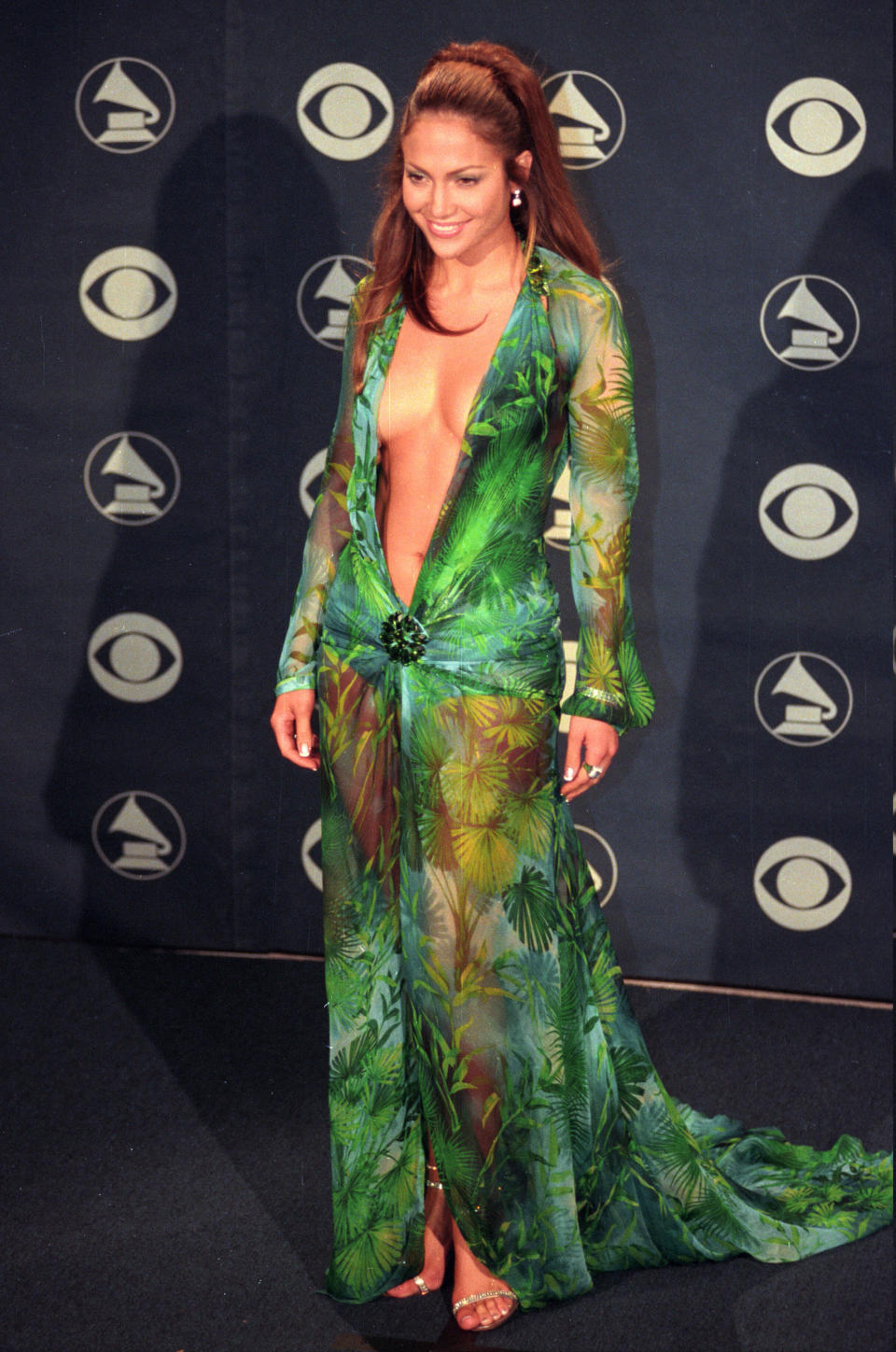 Jennifer Lopez wore the now-iconic green Versace dress to the 42nd Annual Grammy Awards in 2000. (Photo by Kirby Lee/WireImage)