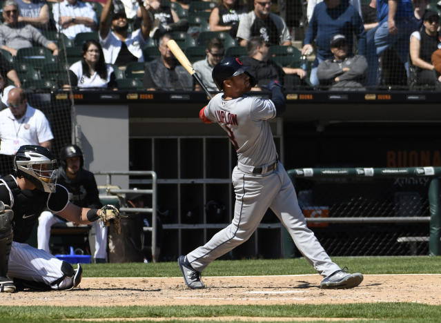 Cleveland Indians' Jordan Luplow (8) watches his home run against the Chicago White Sox during the sixth inning of a baseball game, Tuesday, May 14, 2019, in Chicago. (AP Photo/David Banks)
