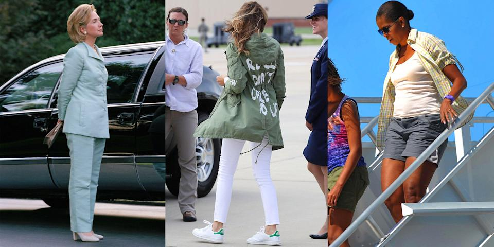 "<p>When you're the first lady, everyone's watching your every move. When successful, a first lady can use her clothing to her advantage to relay a message. Other times not so much. Some past first ladies like <a href=""https://www.marieclaire.com/fashion/a31275353/hillary-clinton-fashion-legacy/"" rel=""nofollow noopener"" target=""_blank"" data-ylk=""slk:Hillary Clinton"" class=""link rapid-noclick-resp"">Hillary Clinton</a> were criticized for her fashion choices long before becoming a presidential candidate. Others like <a href=""https://www.marieclaire.com/politics/a34006418/melania-trump-jackie-kennedy-fashion-legacy/"" rel=""nofollow noopener"" target=""_blank"" data-ylk=""slk:Melania Trump"" class=""link rapid-noclick-resp"">Melania Trump</a> are currently winning the tally for how many times she can make the public question her outfits. Here, <em>all</em> the first lady fashion moments that have ruffled feathers over the years.</p>"