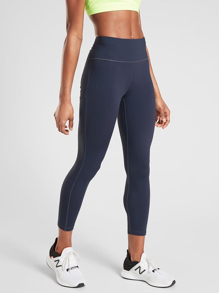 "<p>Tough training sessions call for these <product href=""https://athleta.gap.com/browse/product.do?pid=531262042&amp;pcid=999&amp;vid=1&amp;&amp;searchText=ultimate%20stash%20pocket#pdp-page-content"" target=""_blank"" class=""ga-track"" data-ga-category=""internal click"" data-ga-label=""https://athleta.gap.com/browse/product.do?pid=531262042&amp;pcid=999&amp;vid=1&amp;&amp;searchText=ultimate%20stash%20pocket#pdp-page-content"" data-ga-action=""body text link"">Athleta Ultimate Stash Pocket 7/8 Tights</product> ($89). These are made with compression that's meant to hold you in without feeling restrictive. Get moving in a strength-training session or medium-impact workout.</p>"