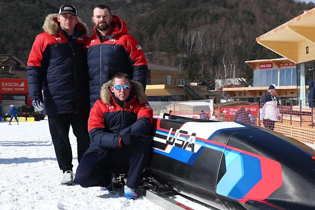 Christopher Fogt, Carlo Valdes and Nathan Weber are part of a Team USA four-man bobsled crew. (Getty)
