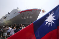 This photo shows the Yushan transport ship during a launch ceremony for its first indigenous amphibious transport dock in Kaohsiung, southern Taiwan, Tuesday, April 13, 2021. (AP Photo/Chiang Ying-ying)