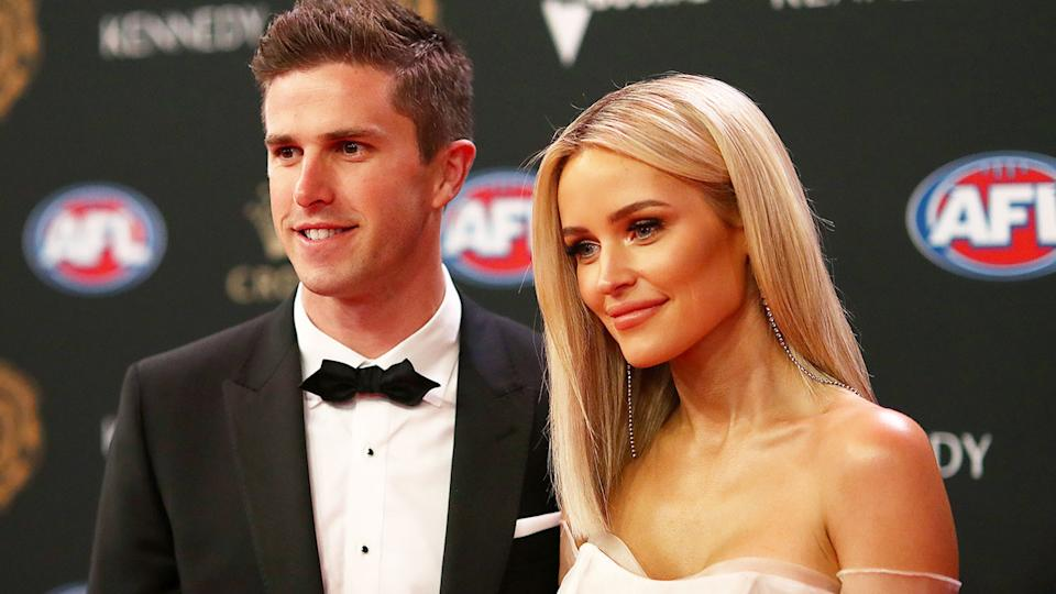 Marc and Jessie Murphy are seen here at the 2019 Brownlow Medal ceremony.