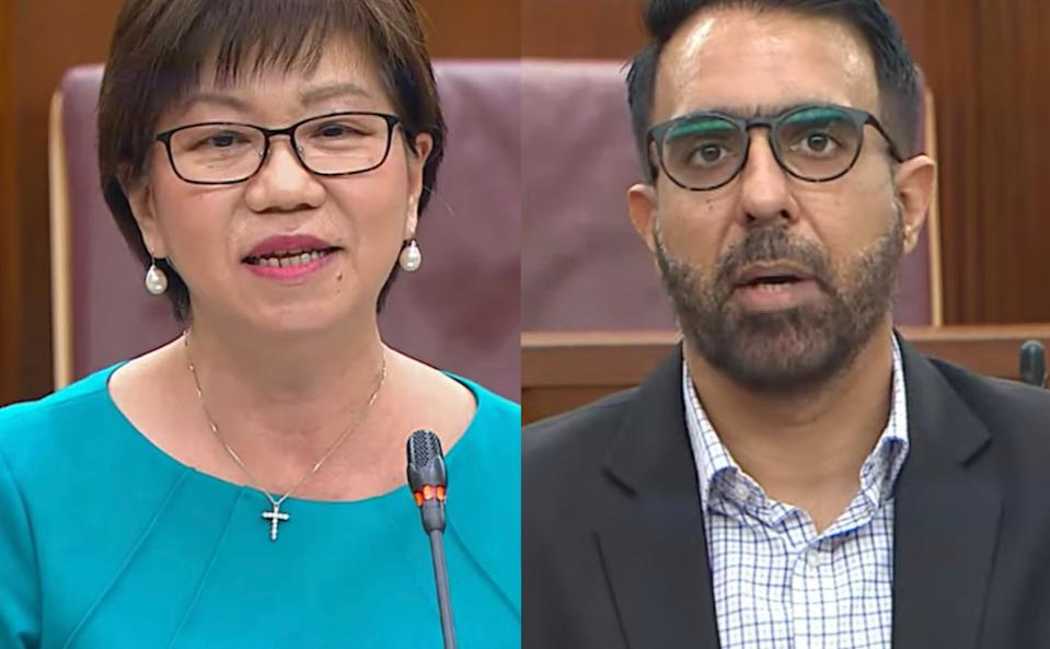 Central Singapore District Mayor Denise Phua and Leader of the Opposition Pritam Singh in Parliament on 25 February, 2020. (SCREENCAP: MCI/YouTube)