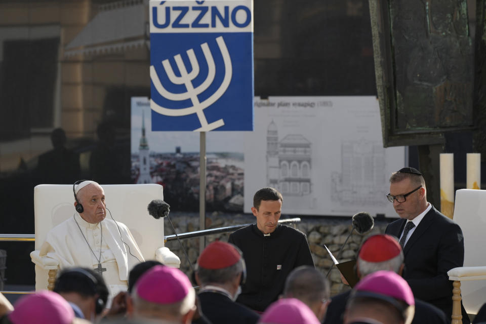 Pope Francis meets members of the Jewish community in Bratislava, Slovakia, Monday, Sept. 13, 2021. Ahead of a rigorous two days hop-scotching around Slovakia, Francis is spending Monday in Bratislava where the highlight of his visit is the encounter at the capital's Holocaust memorial, built on the site of a synagogue destroyed by the communist regime in the 1960s. (AP Photo/Gregorio Borgia)