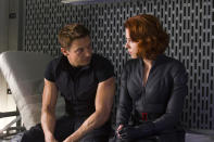 """Jeremy Renner as Hawkeye and Scarlett Johansson as Black Widow in Marvel's <a href=""""http://movies.yahoo.com/movie/the-avengers-2012/"""" data-ylk=""""slk:The Avengers"""" class=""""link rapid-noclick-resp"""">The Avengers</a> - 2012"""
