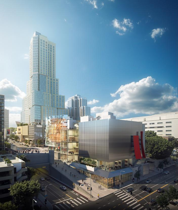 """Rendering of the Frank Gehry-designed Colburn School concert halls at 2nd and Olive streets in downtown L.A., with the tower of the Grand rising in the background. <span class=""""copyright"""">(Gehry Partners LLP)</span>"""