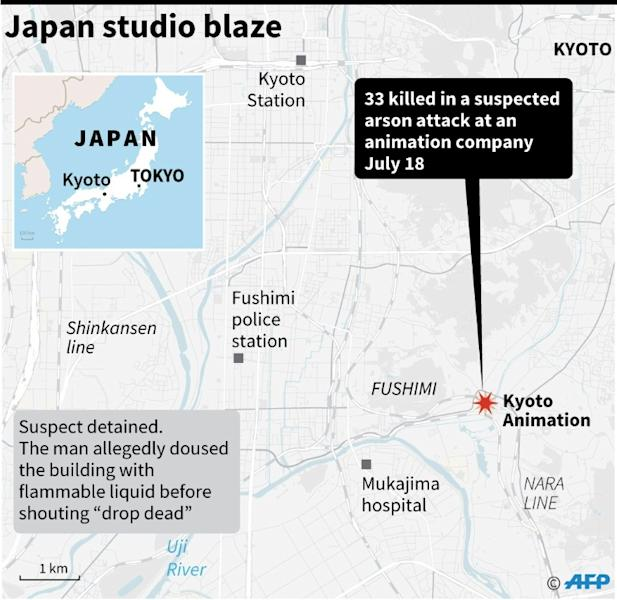 Map locating a deadly blaze in an animation studio in Kyoto