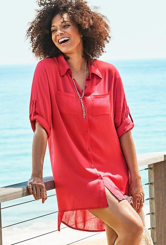 Lyla Grenadine Button Up Shirt. Image via Swimsuits for All.