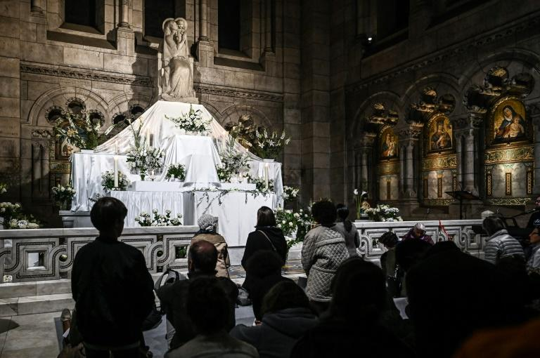 Prayers at the Sacre-Coeur three days after fire engulfed the Notre Dame Cathedral in Paris