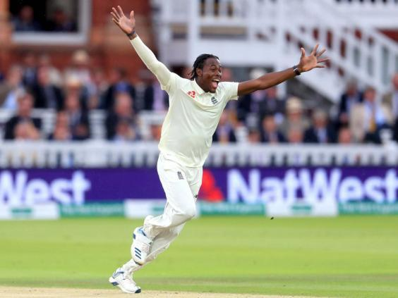 Jofra Archer celebrates taking the wicket of Cameron Bancroft (PA)