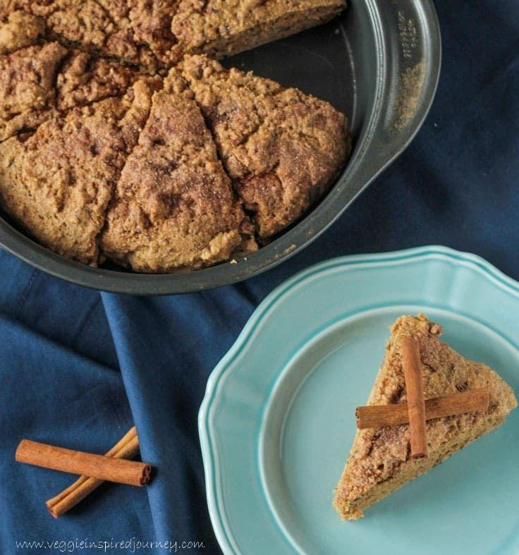 """<p>Calling all skeptics of vegan baked goods! These scones smell (and taste) like pure coziness. You'll be curled up with a cup of tea and one of these in no time.</p><p><a class=""""link rapid-noclick-resp"""" href=""""https://www.veggieinspired.com/maple-pecan-cinnamon-scones/"""" rel=""""nofollow noopener"""" target=""""_blank"""" data-ylk=""""slk:GET THE RECIPE"""">GET THE RECIPE</a></p><p><em>Per serving: 207 calories, 7 g fat (1 g saturated), 34 g carbs, 243 mg sodium, 9 g sugar, 5 g fiber, 5 g protein</em></p>"""