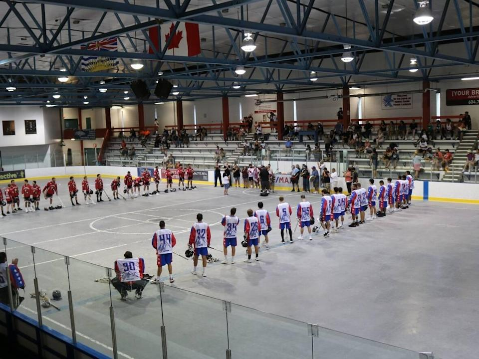 The North Shore Indians, a Senior B team in the West Coast Senior Lacrosse Association, prepare for a game in July at the Harry Jerome Community Recreation Centre. The club's president says the team will be without an arena for years while the City of North Vancouver builds a new facility without keeping the old one operating. (Facebook/North Shore Indians - image credit)