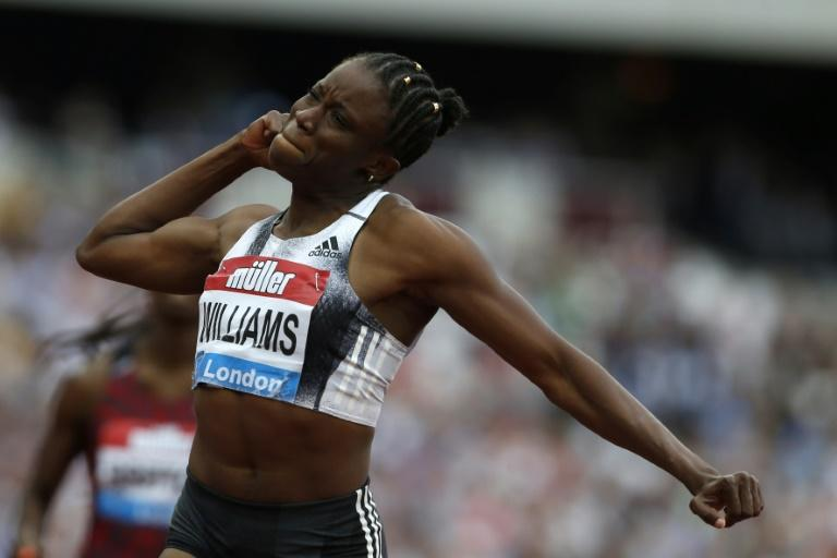 Jamaica's Danielle Williams set the fastest time this year on the way to victory in the women's 100m hurdles in London (AFP Photo/Ian KINGTON)