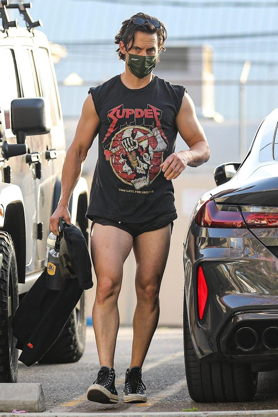 <p>Milo Ventimiglia leaves the gym on Monday in West Hollywood wearing a graphic tee and short shorts. </p>