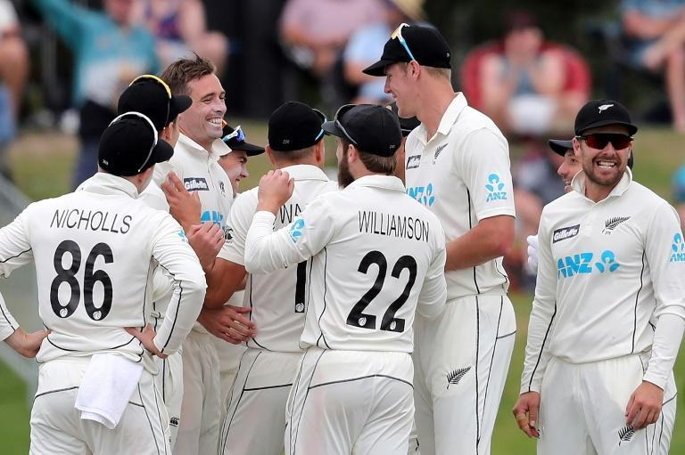 New Zealand's players celebrate the wicket of Pakistan's Azhar Ali on the third day of the first Test at the Bay Oval in Mount Maunganui