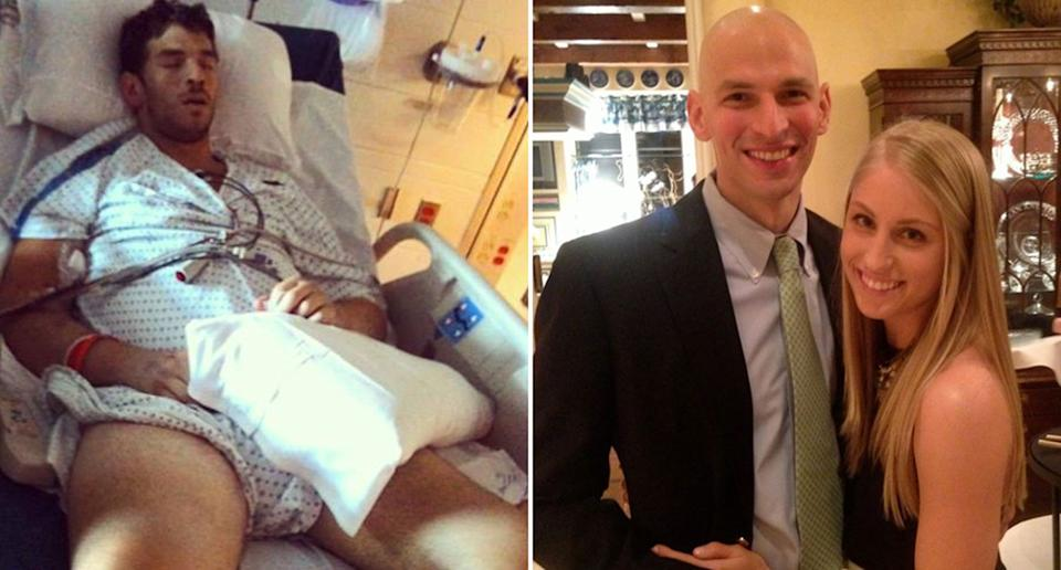 Dr David Fajgenbaum during treatment for idiopathic multicentric Castleman disease and pictured with his wife Caitlin.