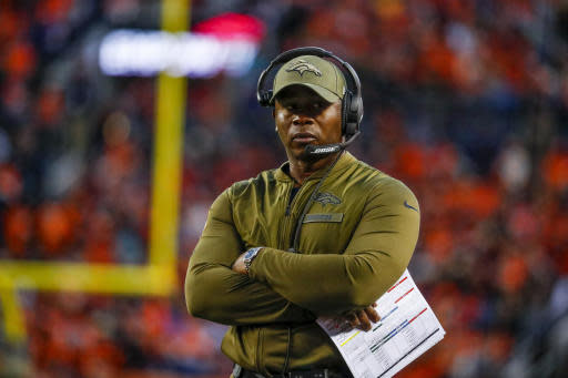 FILE - In this Sunday, Nov. 4, 2018, file photo, Denver Broncos head coach Vance Joseph watches during the second half of an NFL football game against the Houston Texas in Denver. The Broncos hit their bye week with a 3-6 record, in danger of posting back-to-back losing seasons for the first time since 1971-72. (AP Photo/Jack Dempsey, File)