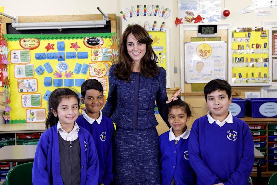 <p>Middleton stepped out in rich blue separates as she attended the Royal video message for Children's Mental Health week in London. </p>