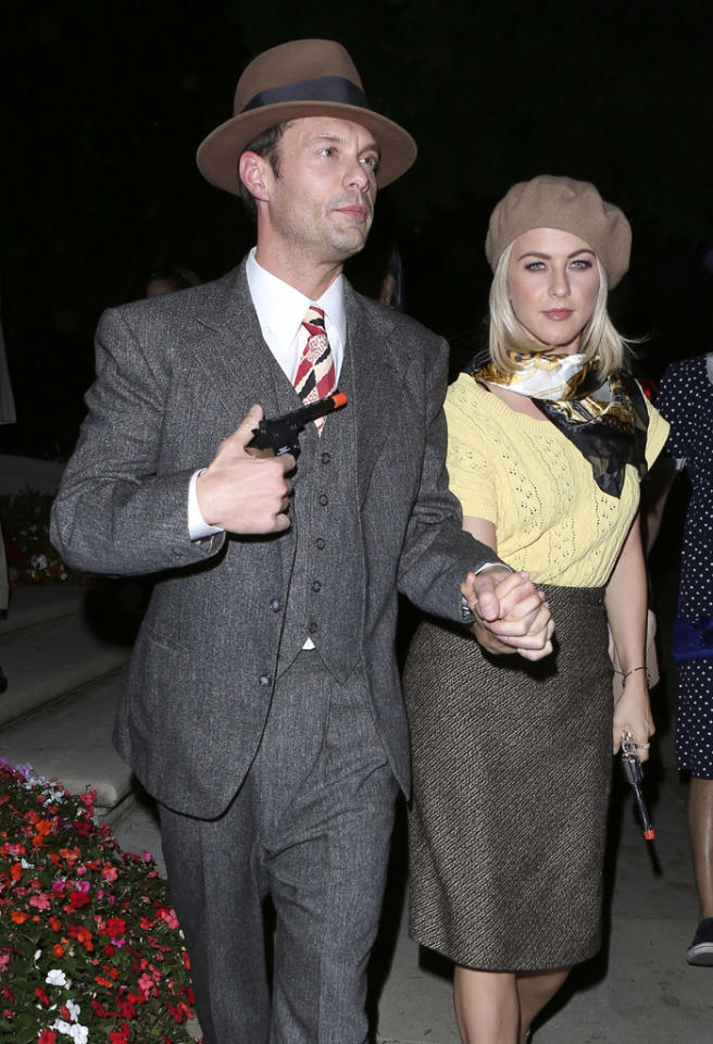 Beverly Hills, CA - Ryan Seacrest takes girlfriend Juliane Hough and brother in law Derek Hough to a Halloween party in Beverly Hills.