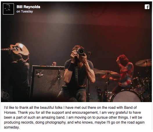 Band of Horses' Tyler Ramsey and Bill Reynolds Leave Group