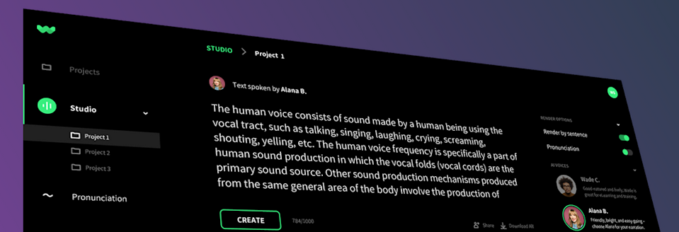 A screenshot of WellSaid Labs' synthetic speech interface.