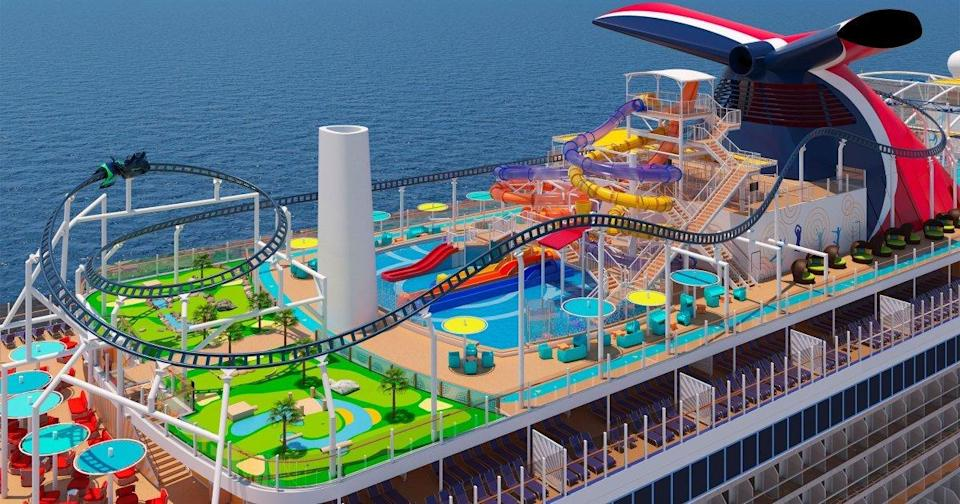 Carnival Cruise Line's New Ship Will Feature the World's First Roller Coaster at Sea