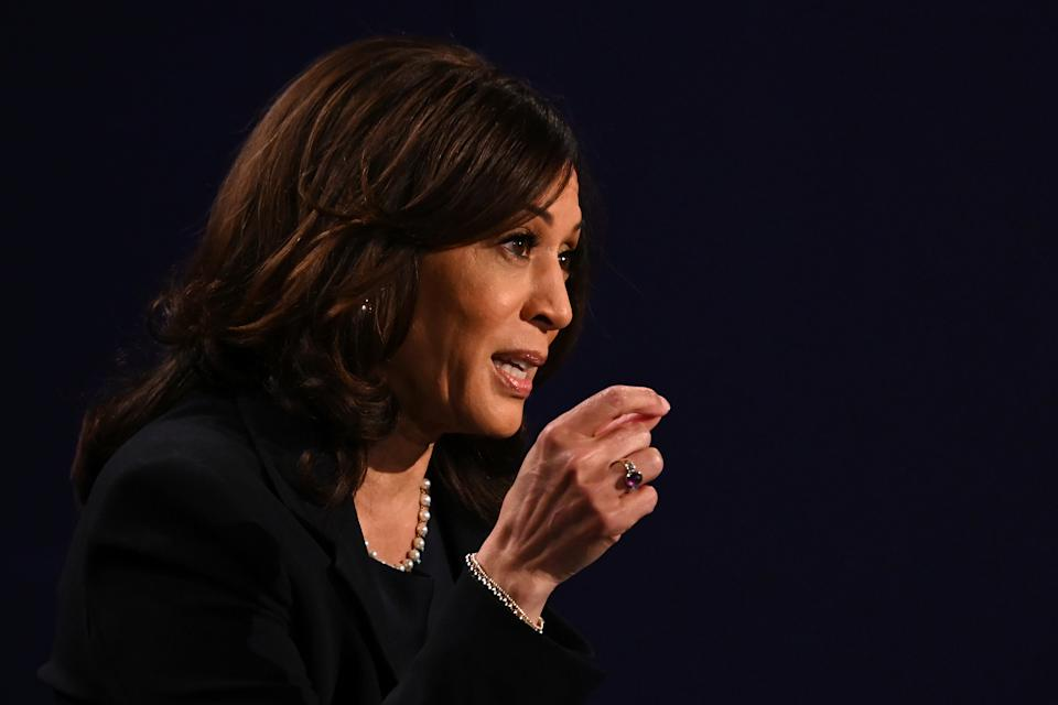 Sen. Kamala Harris speaks during the vice presidential debate in Kingsbury Hall at the University of Utah on October 7, 2020, in Salt Lake City, Utah. (Eric Baradat/AFP via Getty Images)
