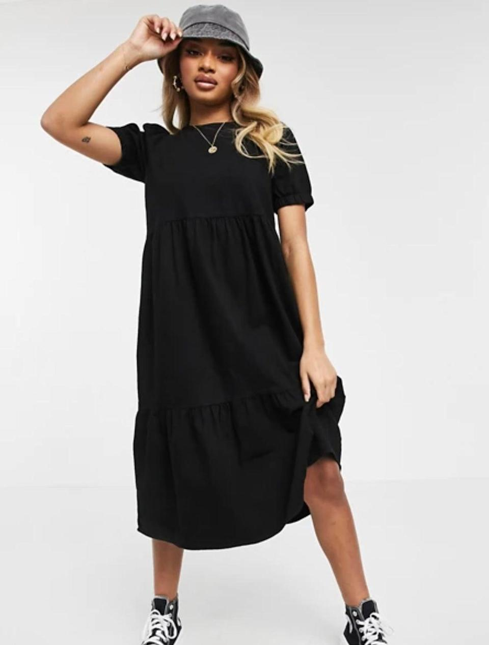"<br><br><strong>Noisy May</strong> Petite Denim Midi Smock Dress, $, available at <a href=""https://www.asos.com/noisy-may-petite/noisy-may-petite-denim-midi-smock-dress-in-black/prd/22402150"" rel=""nofollow noopener"" target=""_blank"" data-ylk=""slk:ASOS"" class=""link rapid-noclick-resp"">ASOS</a>"