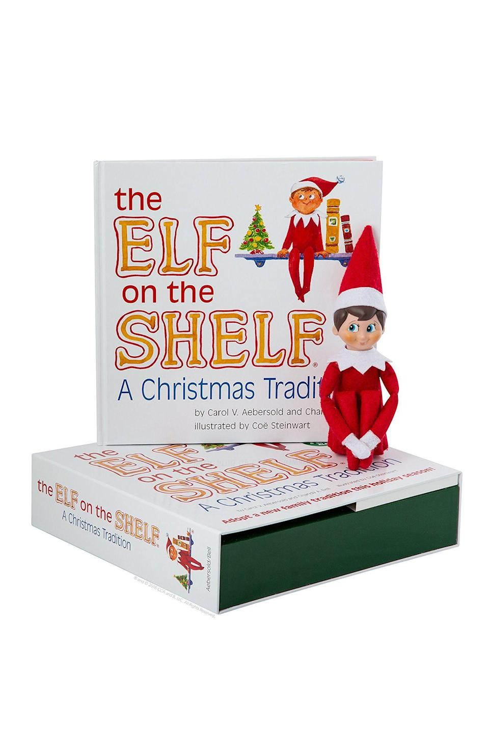"""<p><strong>The Elf on the Shelf</strong></p><p>amazon.com</p><p><strong>$52.50</strong></p><p><a href=""""https://www.amazon.com/dp/0976990709?tag=syn-yahoo-20&ascsubtag=%5Bartid%7C10055.g.3033%5Bsrc%7Cyahoo-us"""" rel=""""nofollow noopener"""" target=""""_blank"""" data-ylk=""""slk:SHOP NOW"""" class=""""link rapid-noclick-resp"""">SHOP NOW</a></p><p>Don't forget to <a href=""""https://www.countryliving.com/diy-crafts/a29652528/elf-on-the-shelf-names/"""" rel=""""nofollow noopener"""" target=""""_blank"""" data-ylk=""""slk:give your new elf a name"""" class=""""link rapid-noclick-resp"""">give your new elf a name</a>! That's half the fun. Once he's properly named, then he can start his job reporting to Santa at the North Pole each night, and make his official arrival in your home.</p>"""