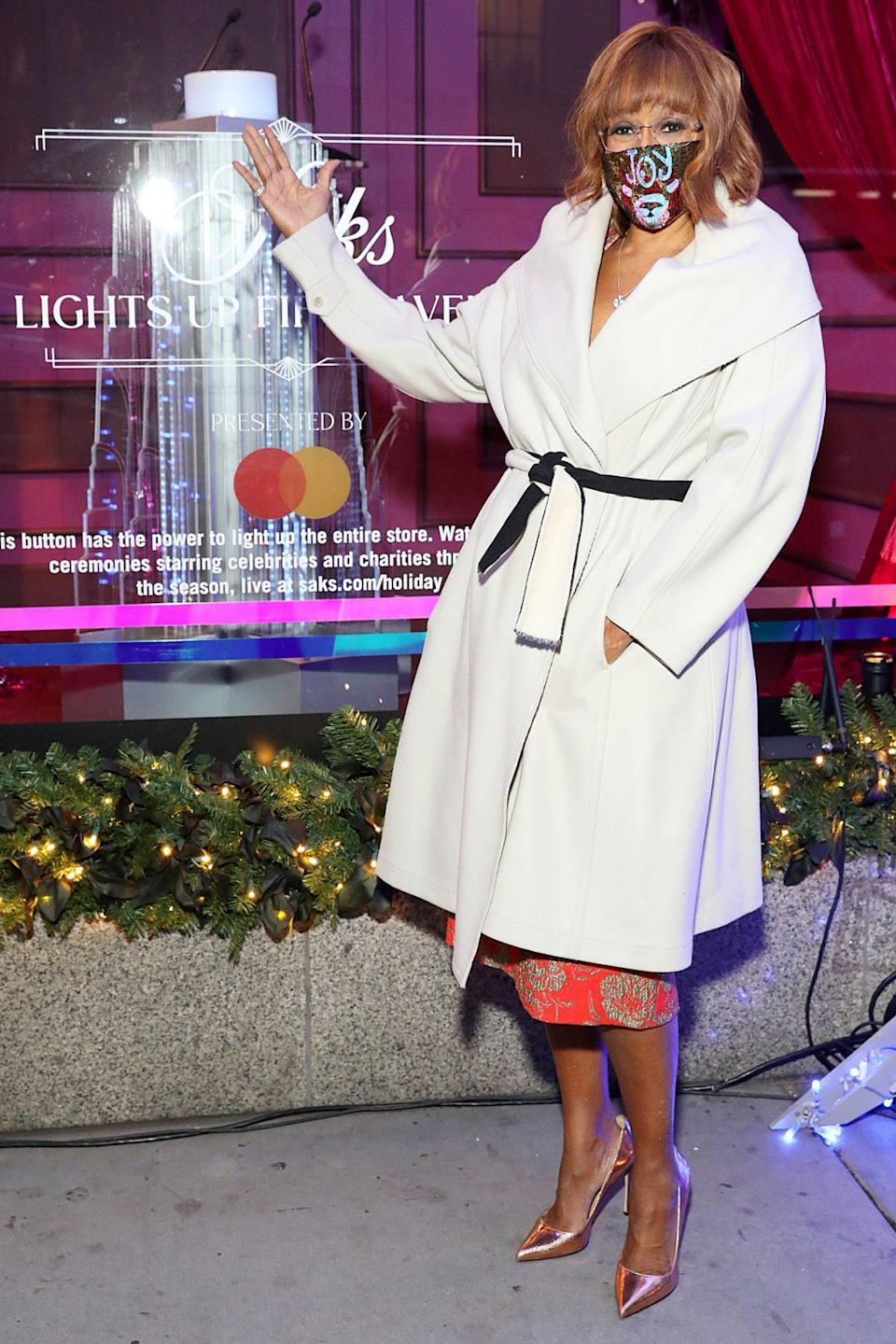 <p>Gayle King attends the Holidays at Saks Lights Up Fifth Avenue Ceremony on Wednesday in N.Y.C.</p>