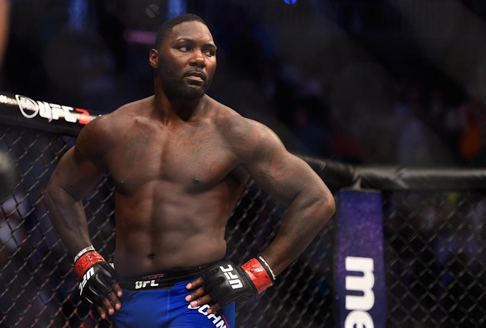 Anthony Johnson celebrates after defeating Glover Teixeira of Brazil in their light heavyweight bout during the UFC 202 event at T-Mobile Arena on August 20, 2016 in Las Vegas, Nevada.  (Photo by Jeff Bottari/Zuffa LLC/Zuffa LLC via Getty Images)