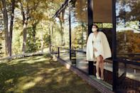 """In front of The Glass House wearing the Elie Saab silk outfit that I wore to sign our Ketubah before the wedding ceremony. You may be thinking, """"Wow, she's really obsessed with capes,"""" and you would be correct."""