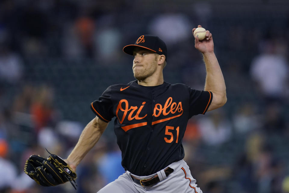 Baltimore Orioles relief pitcher Paul Fry throws during the seventh inning of a baseball game against the Detroit Tigers, Friday, July 30, 2021, in Detroit. (AP Photo/Carlos Osorio)