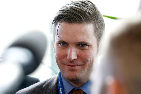 FILE PHOTO: Spencer, a leader and spokesperson for the so-called alt-right movement, speaks to the media at the Conservative Political Action Conference (CPAC) in National Harbor