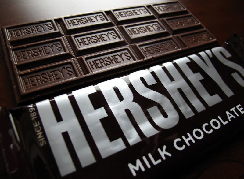 Hershey's chocolate bars are shown in this photo illustration in Encinitas