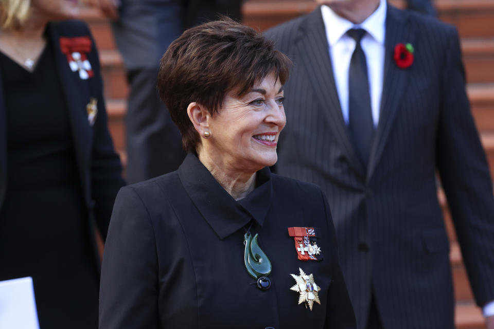 WELLINGTON, NEW ZEALAND - APRIL 21: Governor-General Dame Patsy Reddy looks on after the State Memorial Service for Prince Philip, Duke of Edinburgh, at the Wellington Cathedral of St Paul on April 21, 2021 in Wellington, New Zealand. Prince Philip, Duke of Edinburgh died at age 99 on Friday 9 April at Windsor Castle, with a funeral service held on Saturday 17 April at St George's Chapel in Windsor. (Photo by Hagen Hopkins/Getty Images)