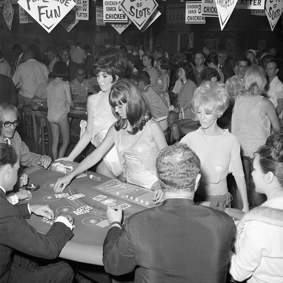 Female black jack dealers in the 1960s wore very little when at work.