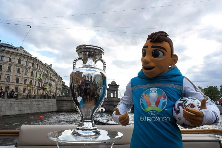 Tournament mascot Skillzy alongside the trophy in Saint Petersburg, one of 11 cities all across the continent hosting matches at Euro 2020